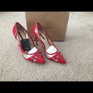 Zara red heels shoes size 6