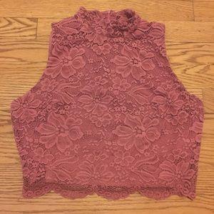 Pink floral lace mock neck crop top