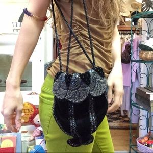 Vintage Bags - Flapper Black Velvet Beaded Vintage
