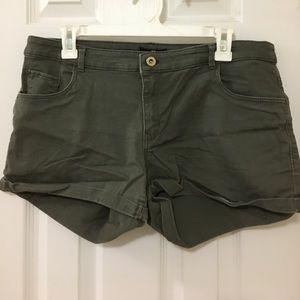 Women's dark green jean shorts