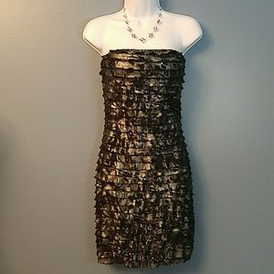 RUBY ROX Black & silver strapless bodycon dress