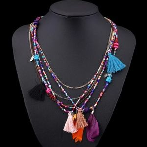 Jewelry - Multilayer Feather, Tassel, Bead & Charm Boho NWT
