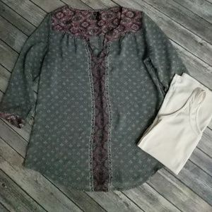 Maurices 3/4 Sleeve Blouse w/Tank Top