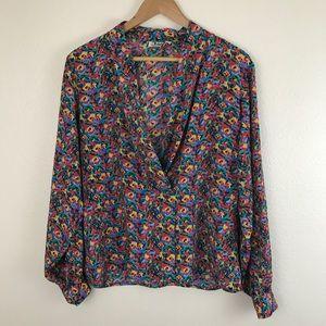 Vintage Vibrant 80s Long Sleeve Silky Wrap Blouse