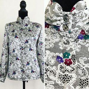Vintage 80s Koret Floral Lace Mock Neck Blouse