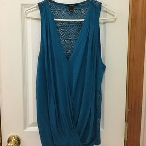 Women's teal tank top with back detail