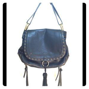 Steve Madden Black Fringe Saddle Bag
