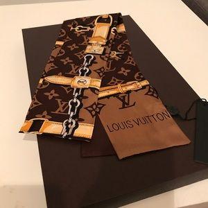 Brown monogram designer confidential bandeau scarf