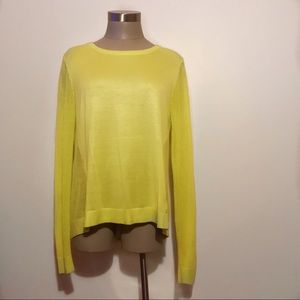 CAbi yellow line open back pullover/sweater