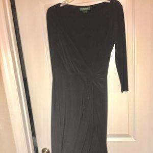 Lauren Ralph Lauren Classic Black Faux Wrap Dress