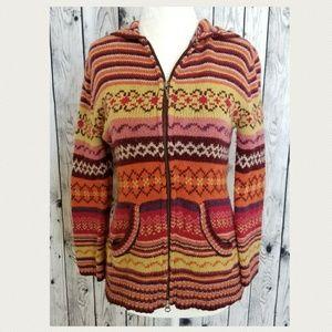 CAbi Fair Isle Hooded Sweater Jacket