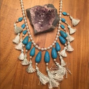 Anthropologie faux turquoise tasseled necklace