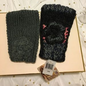 Hand knit Headwraps with flower (bundle of two)