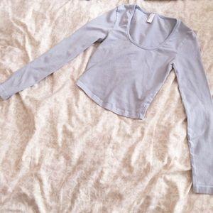 American Apparel baby blue long sleeve crop top