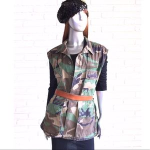 Vintage Army Camouflage Vest Military Jacket 2XL