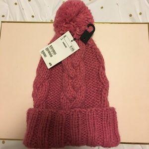 H&M Pink Knit Pom beanie NWT