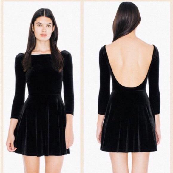 e29d4ec1cb American Apparel Dresses | Black Velvet Skater Dress | Poshmark