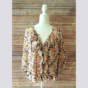 Diane Von Furstenberg floral silk ruffle top