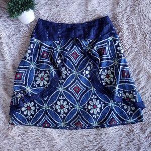 Anthropologie Anna Sui Sz 4 Blue Batik Print Skirt