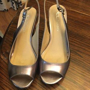 Peep toe gun metal/pewter shoes