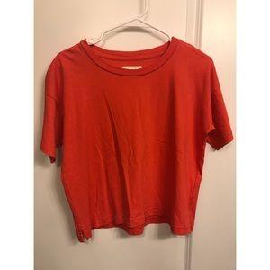 Madewell poppy colored crop tshirt