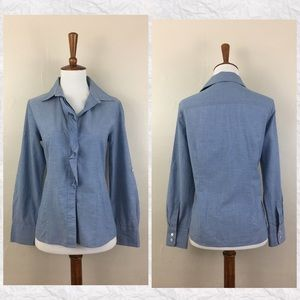 Talbots Blue Petite Ruffle Button Down Shirt