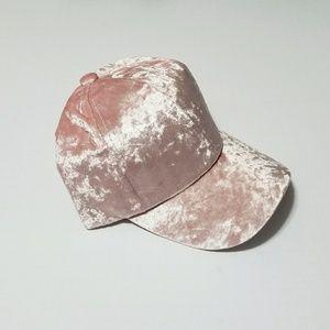 Blush Crushed Velvet Cap