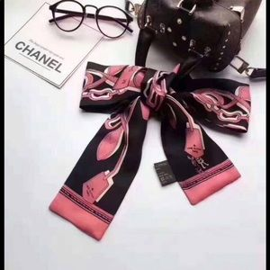 Black and pink Silk bandeau twilly small scarf