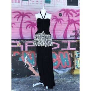 Vintage Black Velvet Halter Maxi Dress XS Goth