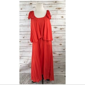 Whit two 4P Tiered dress orange knot shoulder Maxi