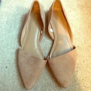 Tan flats, pointed toe