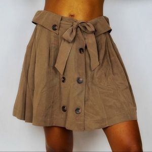 Double Button Tie Front Pleated Circle Skirt
