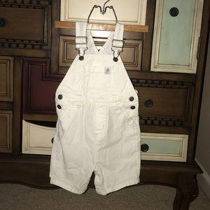 White denim short overalls