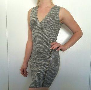 NEW Gold Zipper Asymmetrical Wrap Midi Dress