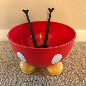 Disney bowl on stand with spoon/fork