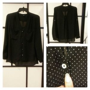 H&M Black And White Polka Dot Blouse M