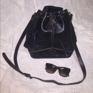 Massini Black Leather Bucket Bag