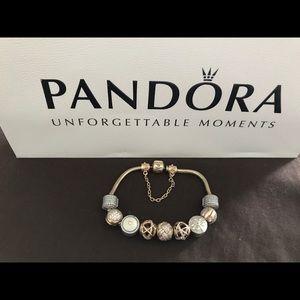 14k Gold Pandora Bracelet with Charms