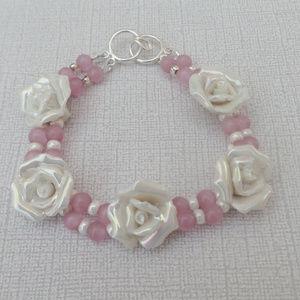 Two Strand Ceramic Rose Flower White Iris Bracelet