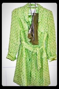 Banana Republic Green Bucle Wool Trench