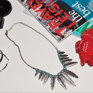 Silver & Turquoise Boho Feather Statement Necklace
