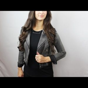 Fitted Gray Denim Moto Jacket