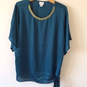 Jaclyn smith gold link chain teal blouse top XXL