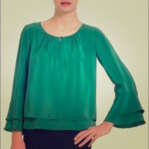 NWT BCBG stylish evergreen fall blouse small size