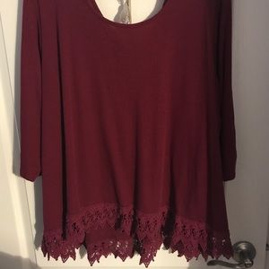 Burgundy Sweater with Lace Hem