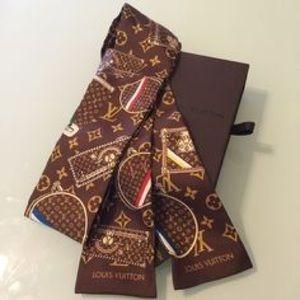 World tour designer brown bandeau twilly scarf