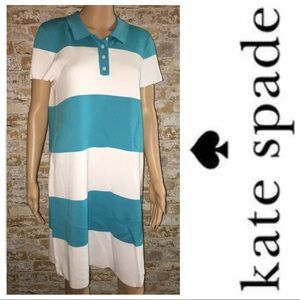 KATE SPADE Blue & White Stripe Polo Shirt Dress L