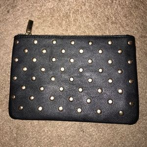 Forever 21 black gold stud small clutch