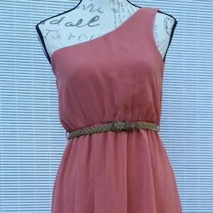 One Clothing romantic one shoulder dress, size XS