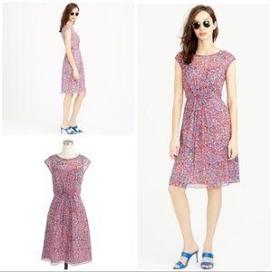 NWT J. Crew Watercolor Dots Silk Chiffon Dress